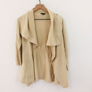 Theory Beige Open Front Wool Cardigan
